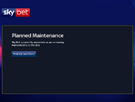 Sky Bet outage screenshot taken on 01/29/2018 20:04:35