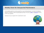 Weebly outage screenshot taken on 01/23/2015 00:10:21