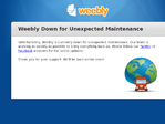 Weebly outage screenshot taken on 01/29/2016 16:36:15